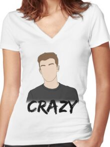 SM - Crazy Women's Fitted V-Neck T-Shirt