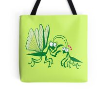 A couple of praying mantises dangerously falling in love Tote Bag