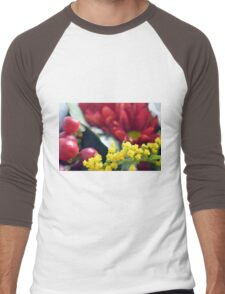 Watercolor style painted colorful flowers. Men's Baseball ¾ T-Shirt
