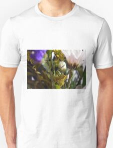 Natural background with flowers and green leaves. Unisex T-Shirt