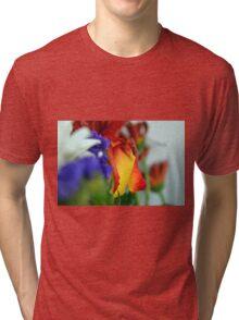 Close up on flower petals. Tri-blend T-Shirt
