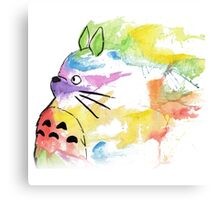 rainbow painting totoro Canvas Print