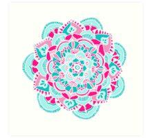 Hot Pink & Teal Mandala Flower Art Print