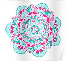 Hot Pink & Teal Mandala Flower Poster