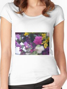 Watercolor style painted colorful flowers. Women's Fitted Scoop T-Shirt