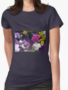 Watercolor style painted colorful flowers. Womens Fitted T-Shirt
