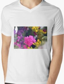 Watercolor style painted colorful flowers. Mens V-Neck T-Shirt