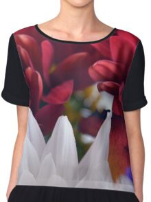 White and red flower petals, delicate natural background. Chiffon Top