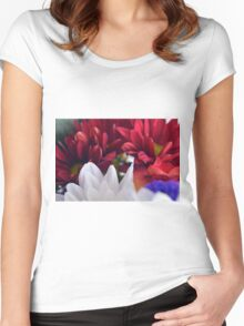 White and red flower petals, delicate natural background. Women's Fitted Scoop T-Shirt