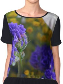 Flowers composition, purple, blue, yellow and white petals. Chiffon Top