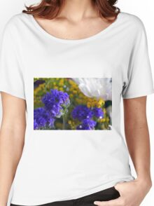 Flowers composition, purple, blue, yellow and white petals. Women's Relaxed Fit T-Shirt