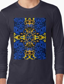 Miniature Aussie Tangle 13 Pattern in Blue and Gold Tones Long Sleeve T-Shirt