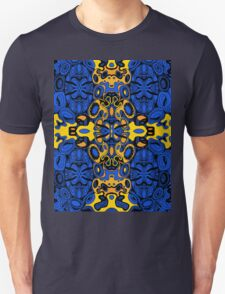 Miniature Aussie Tangle 13 Pattern in Blue and Gold Tones Unisex T-Shirt
