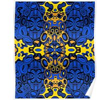 Miniature Aussie Tangle 13 Pattern in Blue and Gold Tones Poster