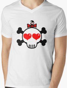 Girl Skull Mens V-Neck T-Shirt