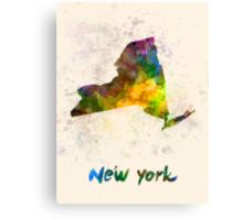 New York US state in watercolor Canvas Print