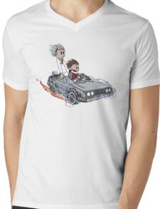 Calvin and Hobbes Back Future Mens V-Neck T-Shirt