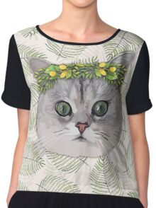 Flower Cat Chiffon Top