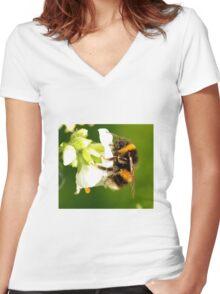 Bee In Peebles Garden Women's Fitted V-Neck T-Shirt