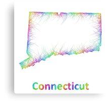 Rainbow Connecticut map Canvas Print