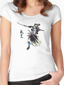 Samurai Wielding Naginata Women's Fitted Scoop T-Shirt