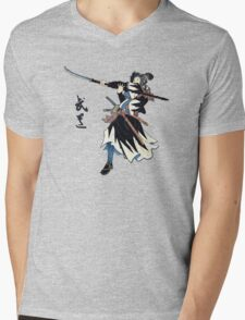 Samurai Wielding Naginata Mens V-Neck T-Shirt