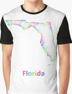 Rainbow Florida map Graphic T-Shirt