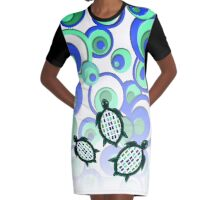 green turtle 37 Graphic T-Shirt Dress