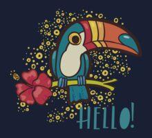 Bird Toucan tropical hibiscus flower in cartoon style.  Kids Tee