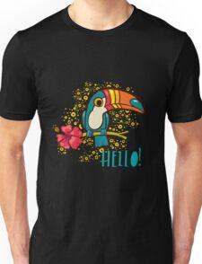 Bird Toucan tropical hibiscus flower in cartoon style.  Unisex T-Shirt