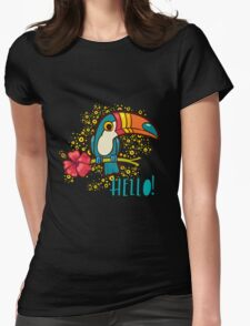 Bird Toucan tropical hibiscus flower in cartoon style.  Womens Fitted T-Shirt