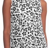 black and white flower Contrast Tank