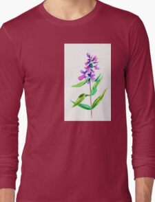 Lilac flower. Watercolor floral illustration. Long Sleeve T-Shirt