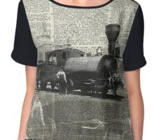 Vintage Locomotive,Old Train Black And White Photo Collage Over Old Book Page Chiffon Top
