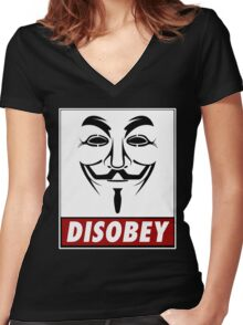Anonymous Disobey Women's Fitted V-Neck T-Shirt