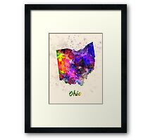 Ohio US state in watercolor Framed Print