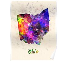 Ohio US state in watercolor Poster