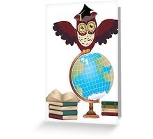 Owl with Globe 2 Greeting Card