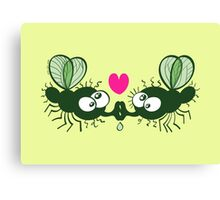 Ugly flies kissing and falling in love Canvas Print