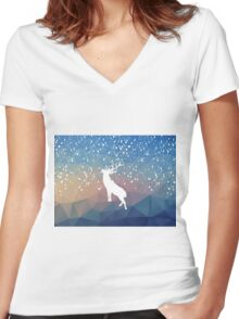 Oh Deer Blue Mountains Women's Fitted V-Neck T-Shirt