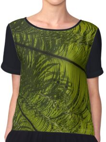 Tropical Green Rhythms - Feathery Fern Fronds - Right Vertical View Chiffon Top