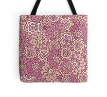 pink retro doodle floral seamless pattern Tote Bag