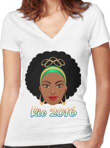 Rio Olympic Games Emblem  Women's Fitted V-Neck T-Shirt