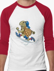 Running Turtle in sporting shoes and hat.  Men's Baseball ¾ T-Shirt