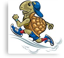 Running Turtle in sporting shoes and hat.  Canvas Print