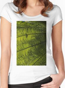 Tropical Green Rhythms - Feathery Fern Fronds - Left Vertical View Women's Fitted Scoop T-Shirt