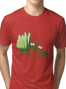 A couple of praying mantises dangerously falling in love Tri-blend T-Shirt