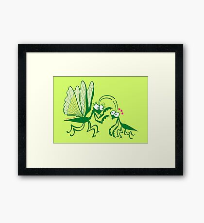 A couple of praying mantises dangerously falling in love Framed Print