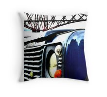 SUV in front of Forth Rail Bridge Throw Pillow