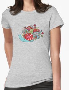 Cute Snail with Flowers & Swirls in Bright Colours Womens Fitted T-Shirt